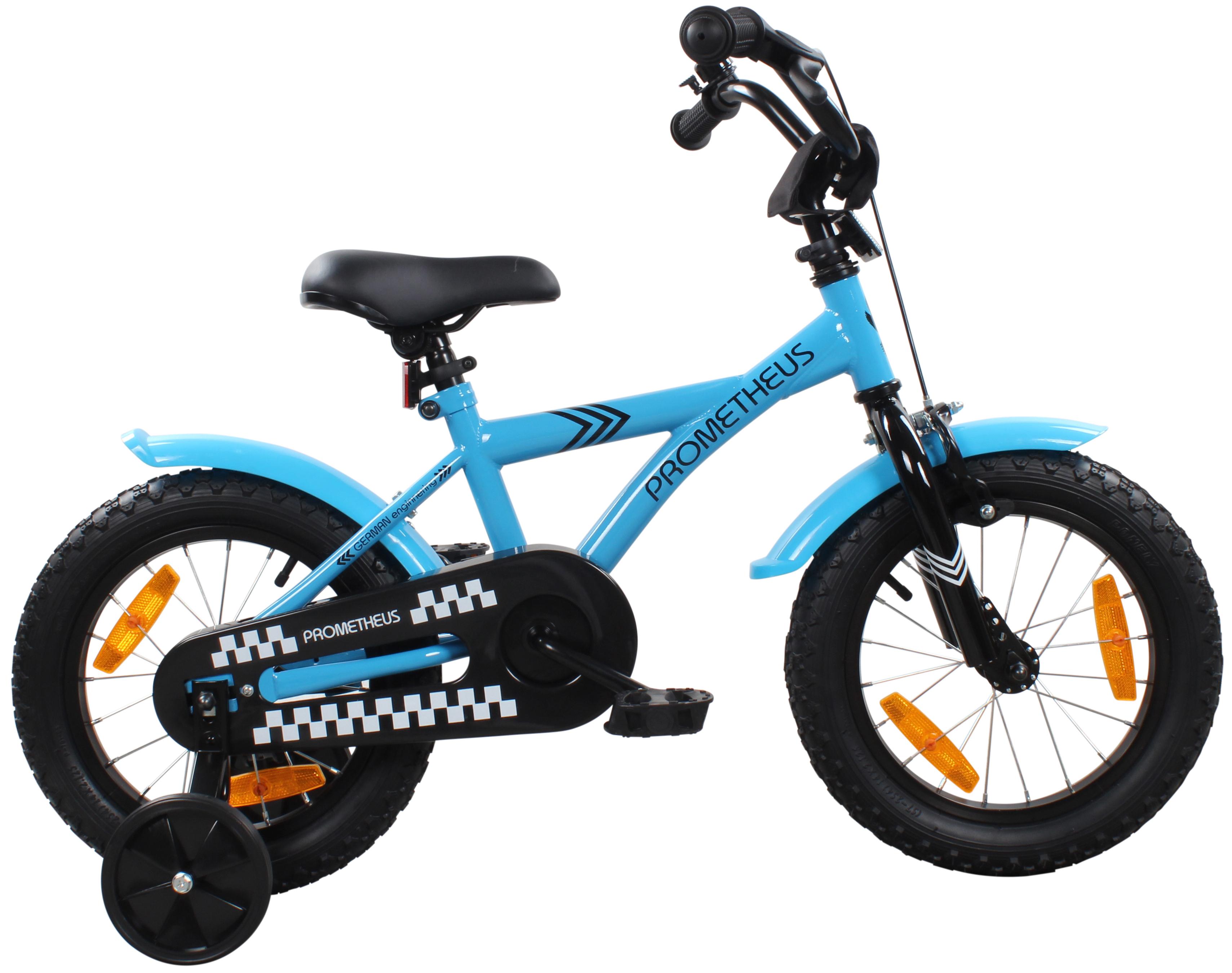 kinderfahrrad 14 14 zoll prometheus kinder fahrrad farbe blau wei mit r cktrittbremse. Black Bedroom Furniture Sets. Home Design Ideas